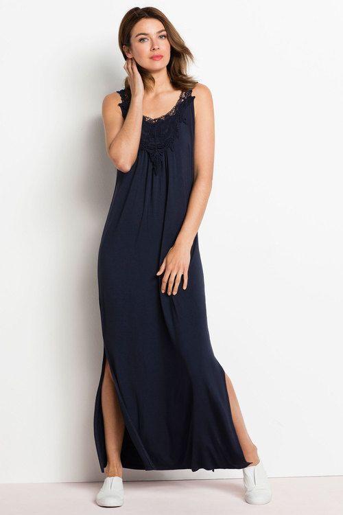 "MOST WORN ~ ""Lace Trim Maxi"", Color: Navy, Fabric: Viscose Elastane, Brand: Capture, Store: EziBuy"