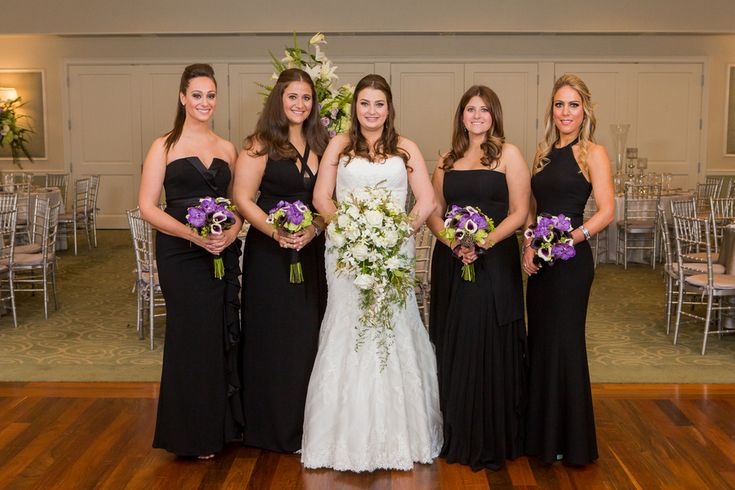 Black Bridesmaid Dresses; Cold Spring Country Club Wedding, New York - The Coordinated Bride; Sarah Tew Photography