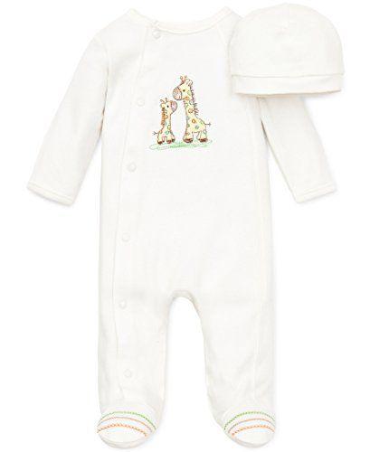 Little Me Unisex Baby 2 Piece Footie and Cap Giraffe Ivory 3 Months