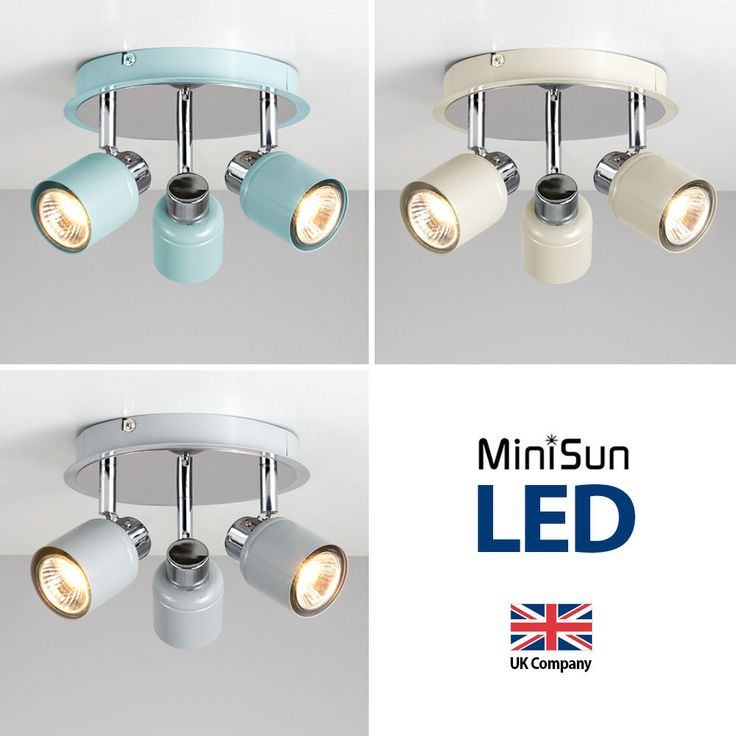 Chrome 3 Way Ceiling Spotlight Spot Light Fitting - Duck Egg Blue / Cream / Grey
