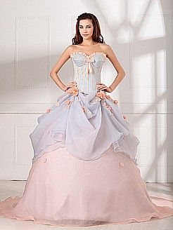 Two Tone Strapless Organza over Satin Quinceanera Dress - USD $259.00