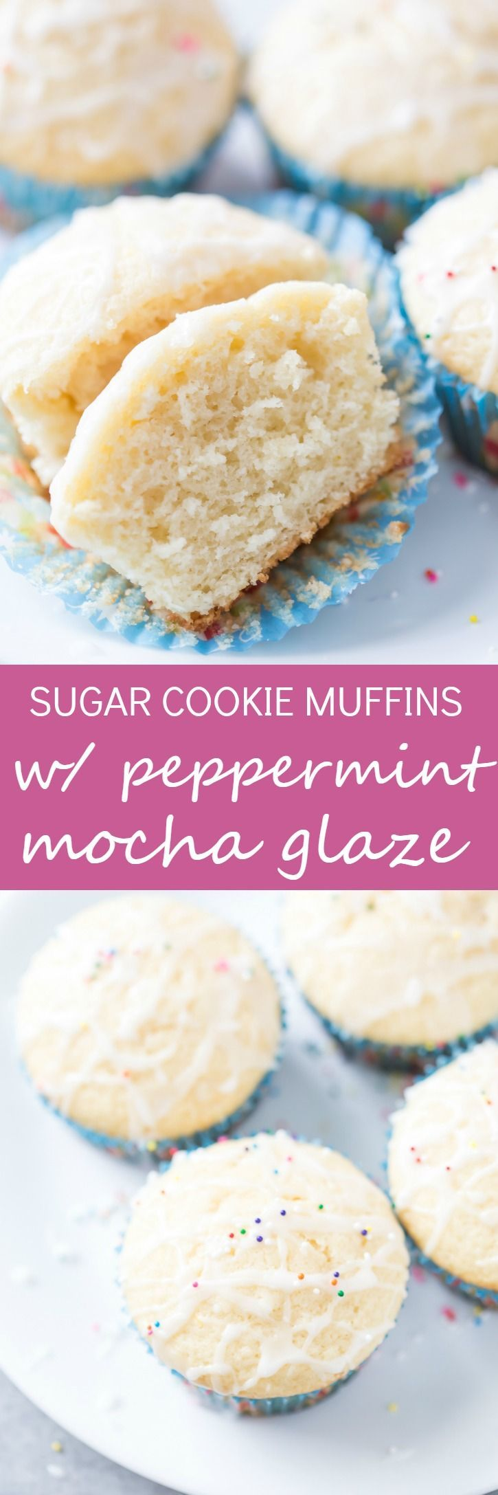 Soft and fluffy Sugar Cookie Muffins with Peppermint Mocha Glaze are so easy! They are perfect for the holidays and even for a quick on-the-go breakfast. These are the muffins you have always been searching for and need!  via @galmission