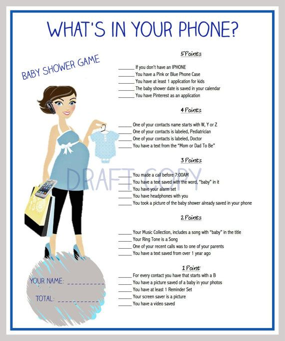 Baby Shower Game What's in your phone by 31Flavorsofdesign