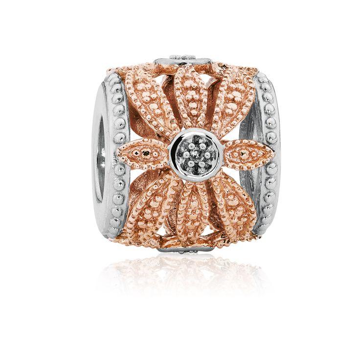 Diamond set, rose gold  sterling silver charm (11947875) #rosegold #emmaandroe