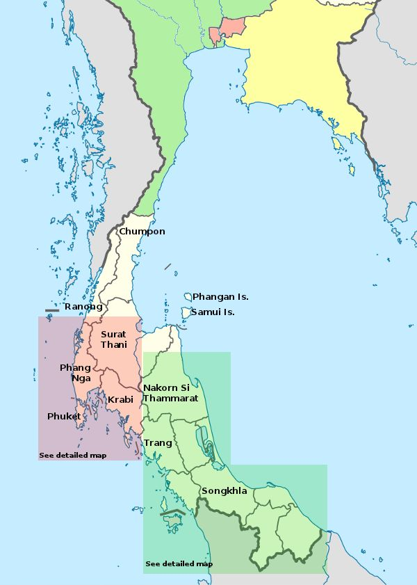 detailed map of south thailand - 600×841