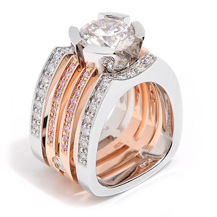 Interlude Collection - 2.20ct Round Brilliant Cut Diamond accented by White and Pink Diamonds set in 18K Rose Gold and Platinum.