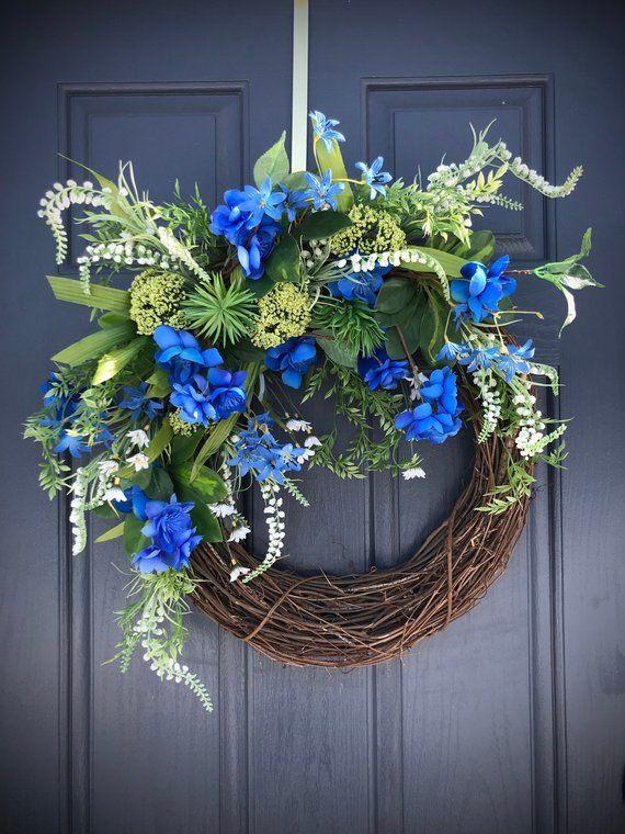 Spring Door Wreath Blue Wreaths Blue White Door Wreath Spring