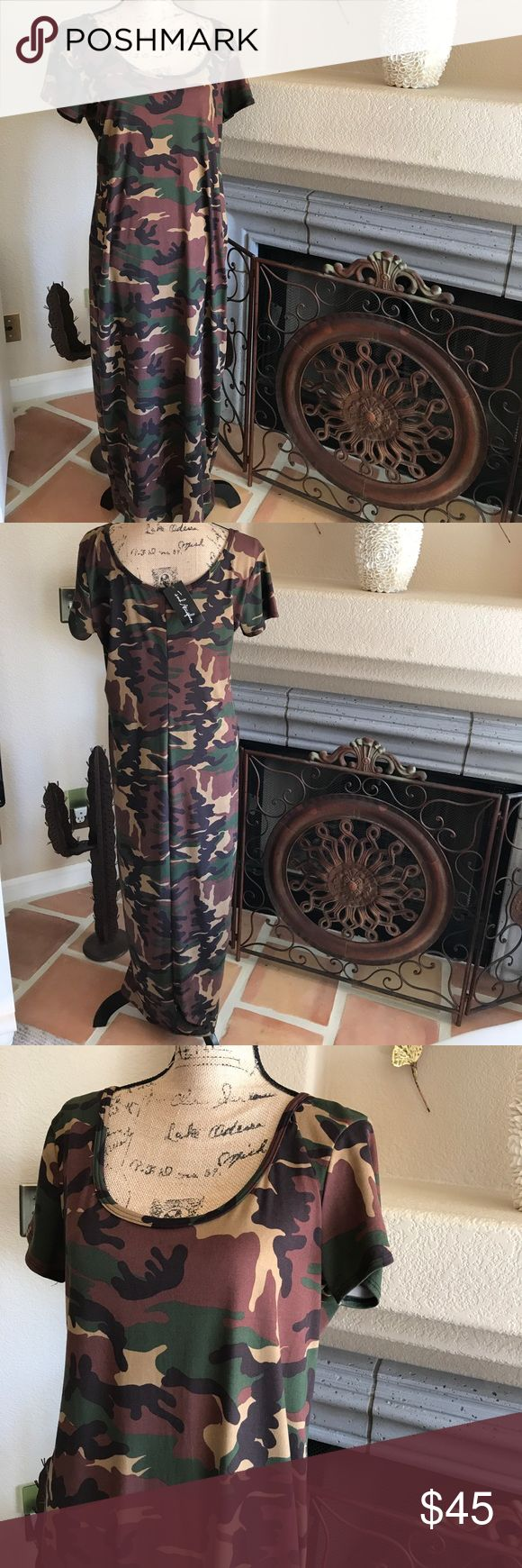 """Camouflage Maxi Dress. NWT. In sizes 1X & 2X🎃🎃 This camouflage Maxi is perfect for fall. The length is approximately 48"""" and I have only 2. In sizes 1x & 2X Dresses Maxi"""