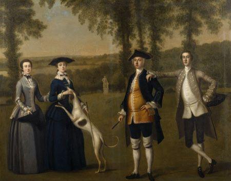 PURPORTED TREVELYAN CONVERSATION PIECE, English School 1745-50 at Wallington, Northumberland
