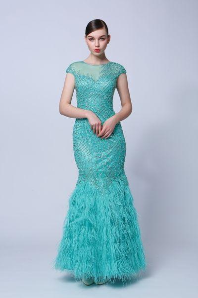 tyrkysové luxusné šaty jesenný typ