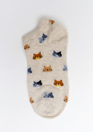 Cat Ankle Socks  - Beige