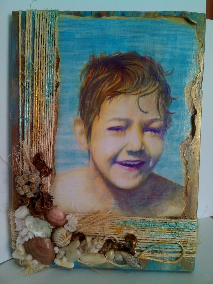 sketch with watercolor paint on paper which glued on old wood and wrapped with rope decorated with gold, acrylic, sea stones, shells and salt.