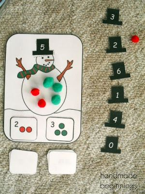 Fun addition game for kids. Pin the hat showing the addition sum on the snowman's head.