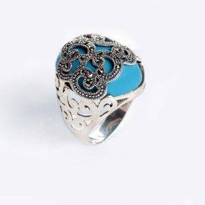 Mavi ve markazıt taşli , 925 ayar gümüş bayan yüzük