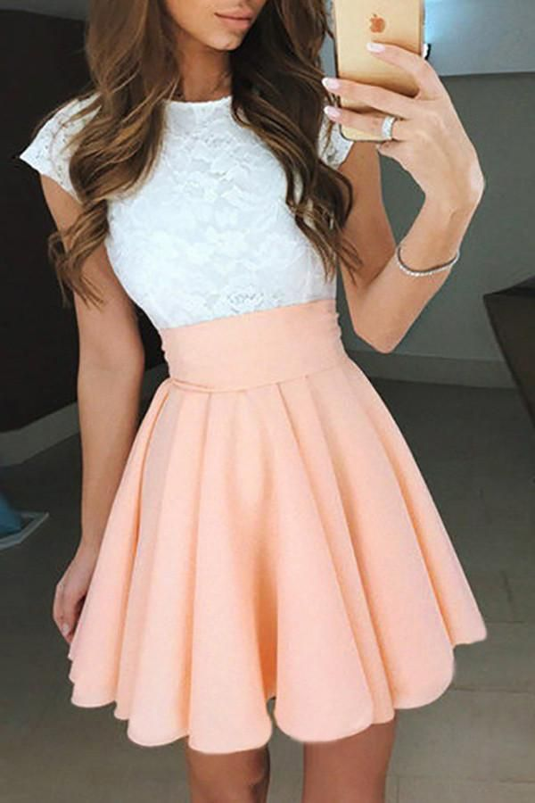 A-Line Jewel Cap Sleeves Pearl Pink Short Chiffon Homecoming/Prom Dress with White Lace OK292