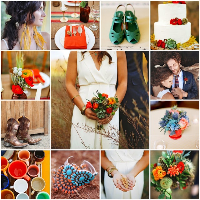 If you'd like to have a Southwest wedding, think: earthy yet bright colors, feathers, organic materials, weedy flowers. It'd be easy to pull off and would make your guests feel like they're part of a fabulous John Wayne movie!