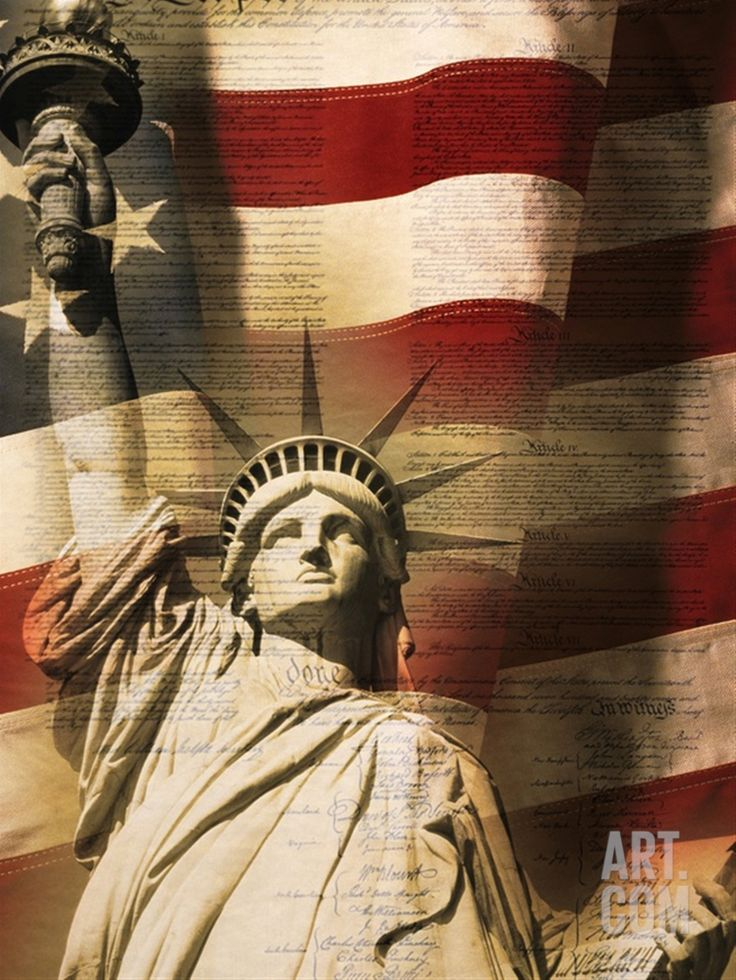 Statue of Liberty and American Flag Photographic Print by Joseph Sohm at Art.com