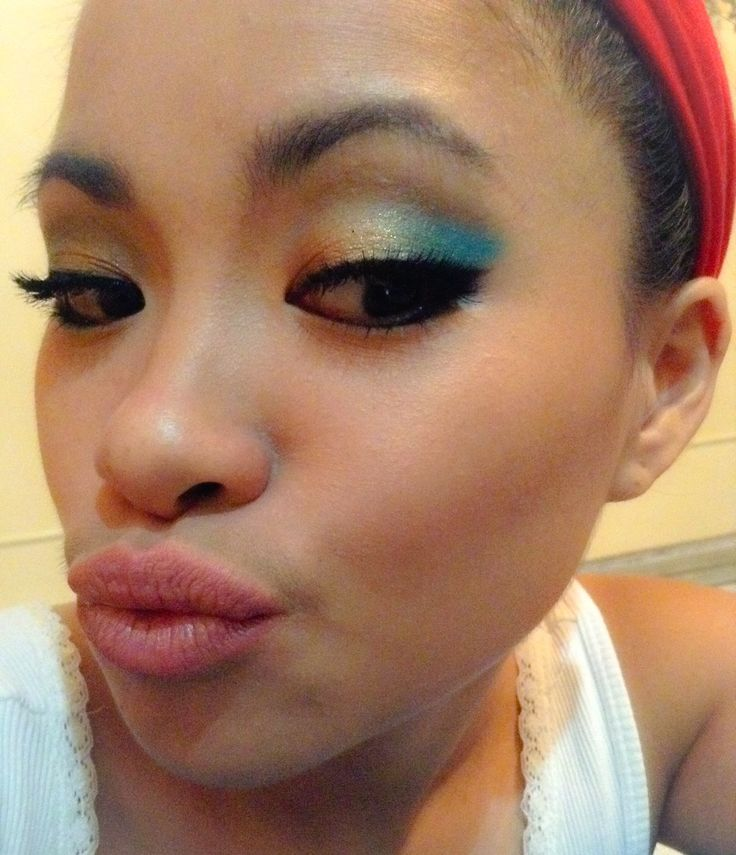 Blue and gold eyes with nude lips