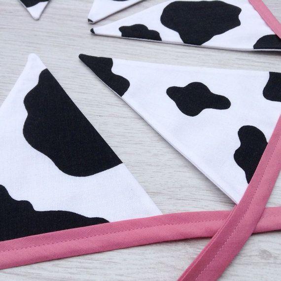 Farmyard Cow Bunting Cowprint flags Animal lover by BellaandRoo