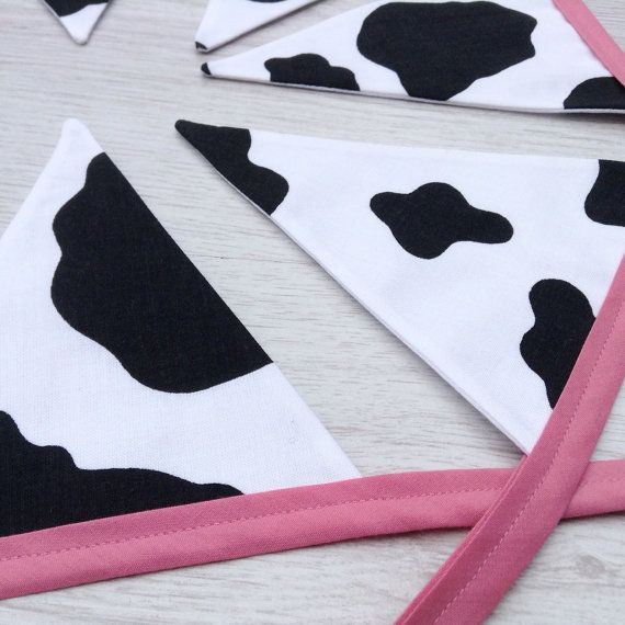 Farmyard Cow Bunting Cowprint flags Animal lover by BellaandRoo