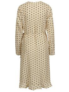 Béžové bodkované zavinovacie šaty s volánom VILA Soap  5e0682b0822