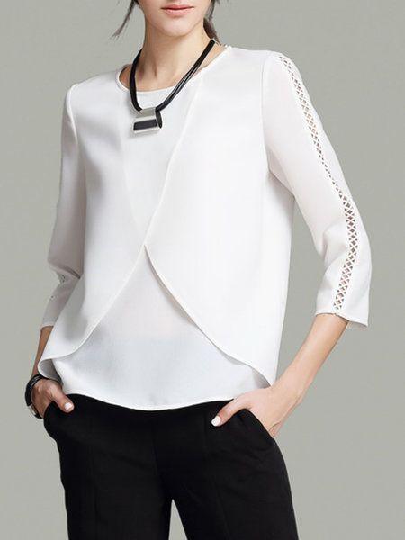 Shop Blouses - White Crew Neck Pierced 3/4 Sleeve Blouse online. Discover unique…