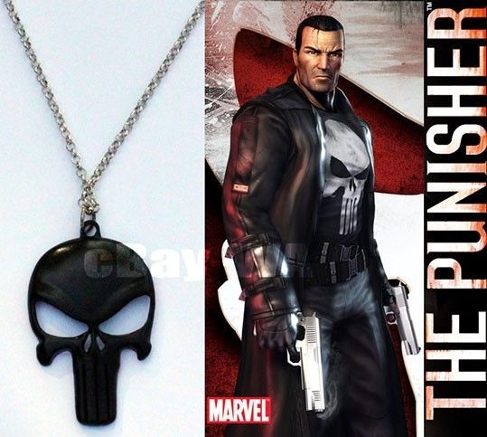 The Punisher Frank Castle Pendant necklace Chain Paintball Paint Ball Black Logo