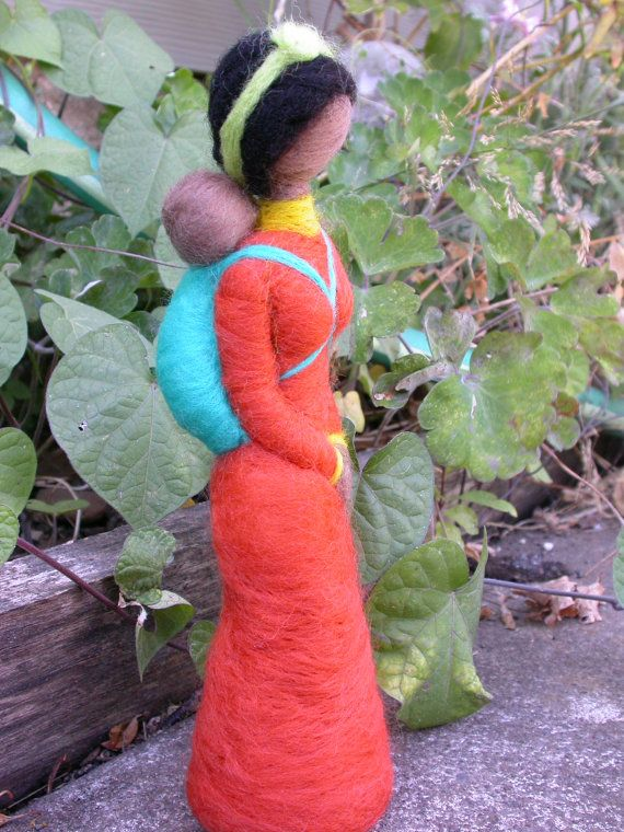 Sale African/East Indian Baby Wearing Mother by radishwoolworks, $32.00