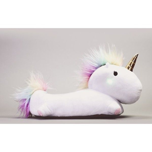 Enchanted Light-Up Unicorn Slippers (2,080 DOP) ❤ liked on Polyvore featuring shoes, slippers and magic