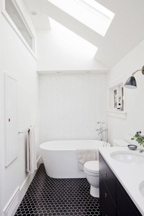 white bathroom black hex tile floor sophie burke design rh pinterest com