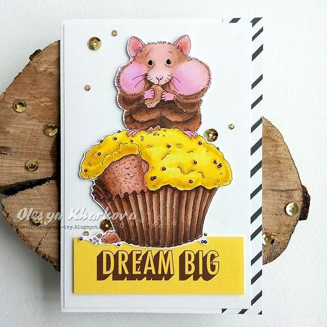 Mo's Cupcake Hamster which was created by @olesya_kharkova colored with @chameleonpens .  ----------------- Открытка на день рождения с хомячиной от Мо Мэннинг.  #cardmaking #card #papercrafts #coloringstamps #momanningstamps #chameleonpens #happybirthdaycard #открытка #открыткаручнойработы #открыткисвоимируками #раскрашиваниештампов #as_if_by_magic_my_creations