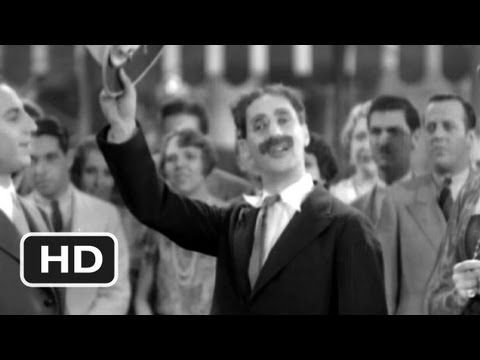 "Video clip of Groucho Marx singing ""Hello, I must be going"" from the 1930 theatrical film version of ""Animal Crackers"""
