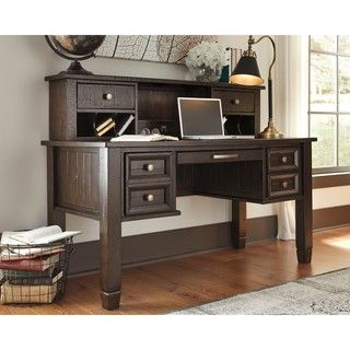 Shop For Signature Design By Ashley Townser Grey Home Office Desk Hutch Get Free Shipping