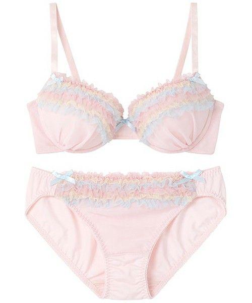 AMPHI Ladies'(アンフィ)の【¥1,900+税 セット】レインボーフリル ブラ&ショーツ(ブラ&ショーツ)|ピンク