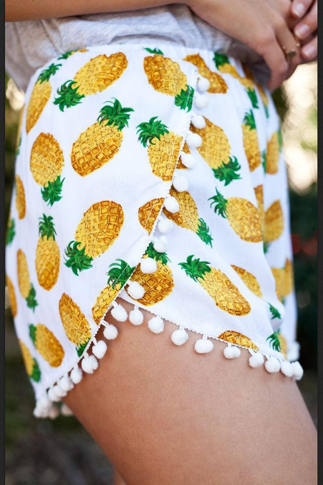 Pom Pom trim pineapple shorts   fun clothing.