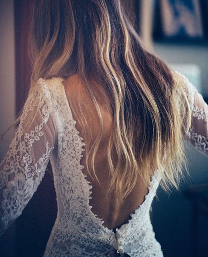 The Most Gorgeous Wedding Dresses   Long sleeved wedding dress with open back   fabmood.com #weddingdress #weddinggown #bridalgown #laceweddingdress