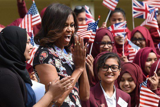 06-16-2015 CLASSY: Michelle Obama Bashes America While Overseas, Tells British Muslim Girls They Face Same Struggles As Blacks In U.S.