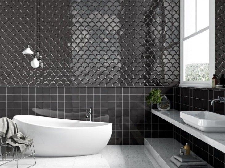 104 best tile inspiration images on pinterest tiles for Fish scale tiles bathroom