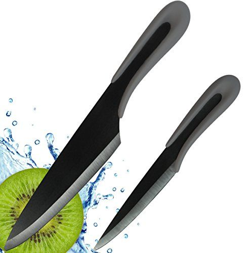 "http://amzn.to/29TfsvJ Ceramic Knife from Vesper's Kitchen includes Two Black Ceramic Knives, a 6"" Chef Knife, 4"" Paring Knife, Sheaths in a beautiful Gift Box"