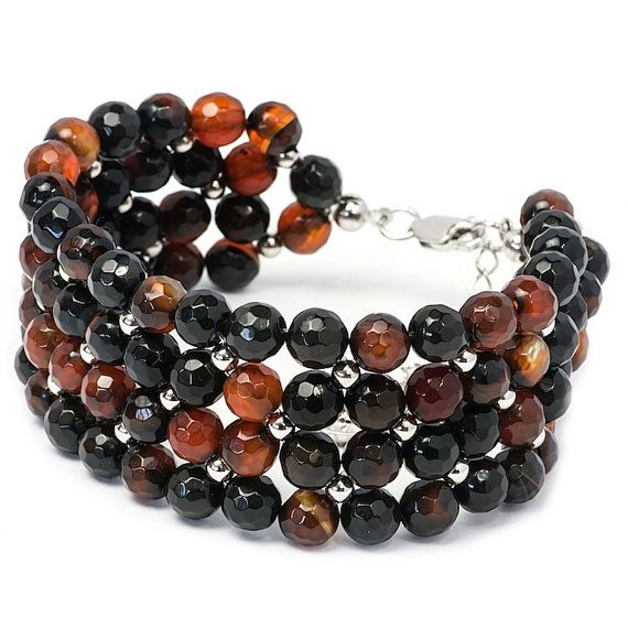 Beaded Brown Bracelet Gemstone Bracelet Rhodium Plated by MYNESS