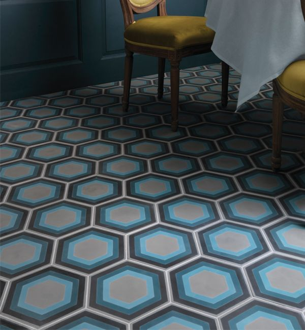 Patisserie hexagon encaustic tiles. These colourful hexagonal tiles are available at Ca' Pietra stockists.