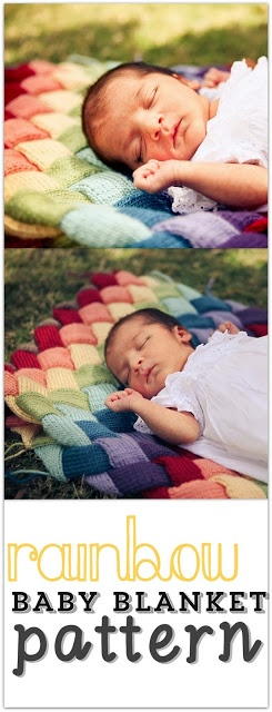 Rainbow Baby Blanket Knitting Pattern  Ok there's a baby in the pic - but let's be honest, she'd have a hard time getting it away from me. an etsy pattern http://www.etsy.com/listing/97581768/double-rainbow-entrelac-baby-blanket?