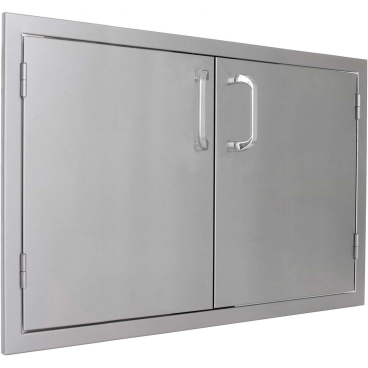 commercial 304 grade, stainless steel construction, and a 20 gauge steel frame; external flag hinges for easy removal; and a number 4 brushed finish.