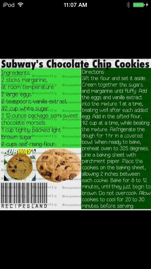 Nutrition Facts For. Subway chocolate chip cookie. Subway chocolate chip. Nutritional Information For Subway
