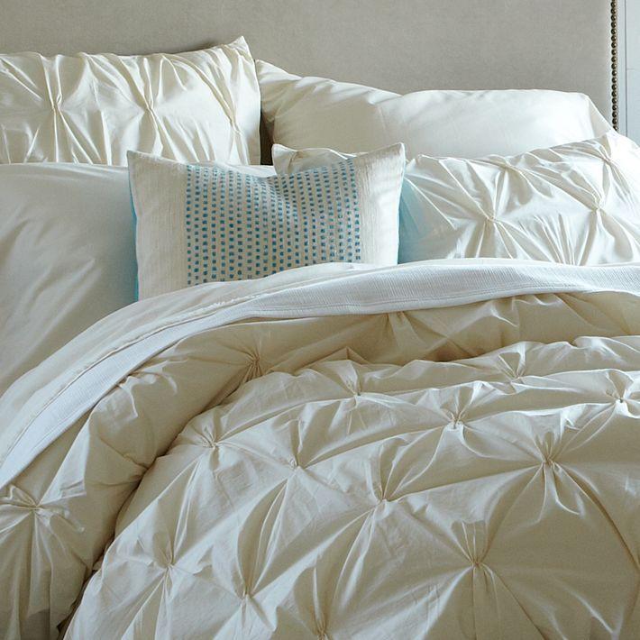 West Elm Organic Cotton Pintuck Duvet Cover + Shams - Natural