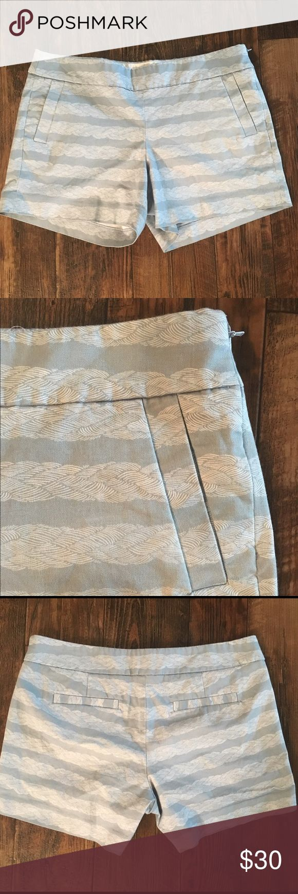 """J Crew Nautical Rope Print Stretch Chino Shorts 12 J Crew Sz 12 women  In excellent condition  Soooo cute!  Light blue-grey color, rope print shorts. Zips up the side. stretch - 98% cotton, 3% elastane. Measurements- 35"""" waist 13"""" long, waist to cuff J. Crew Shorts"""