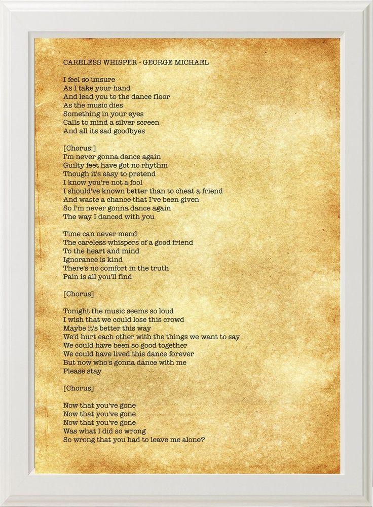 George Michael Careless Whisper Lyrics White Frame George Michael Lyrics George Michael George Michael Careless Whisper
