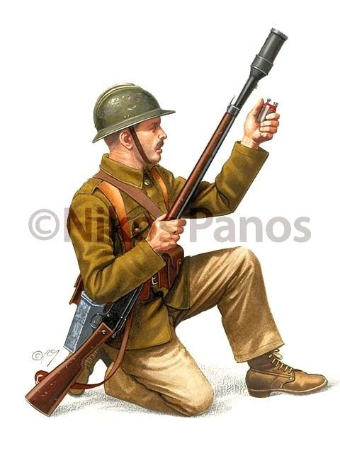 Infantry Private carrying rifle with 'troblon' grenade launcher