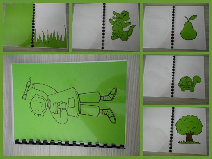 Kleurenboekje Groen. Een boekje vol met groene voorwerpen. Eenvoudig om zelf te maken: print kleurplaten af op gekleurd papier, knippen en plakken op wit papier, lamineren, inbinden en klaar! *liestr*