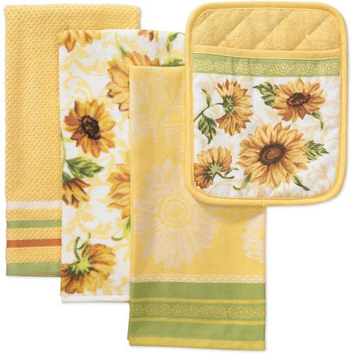 Walmart.com: Better Homes and Gardens 4-Piece Kitchen Towel and Pot Holder Set, Sunflower: Kitchen & Dining